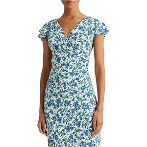 LAUREN RALPH LAUREN Floral Body Con Rusched Dress